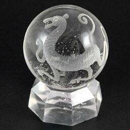 四神の置物 【彫刻置物】丸玉 水晶20mm (素彫り) 白虎 ※DM便・ネコポス不可※ 【パワーストーン 天然石 アクセサリー】