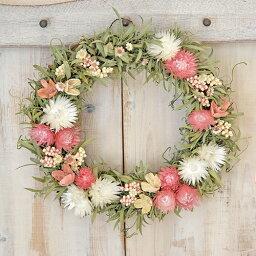 リース リース/ギフト 草原で見つけた妖精の花冠♪Coquelicot☆かわいいピンクのリース【ナチュラル ドライフラワー リース】ナチュラルなグリーンとピンクのドライフラワーリース/ベビーピンクの大人カワイイ シンプルリース。