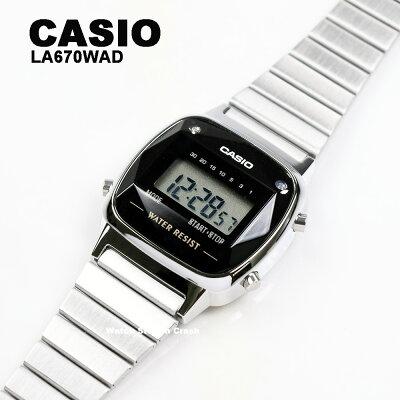 【天然ダイヤモンド】母の日 CASIO カシオ 腕時計 LA670WAD-1 LA-670WAD ブラック シルバー チープカシオ チプカシ デジタル 腕時計 レディース 女性 送料無料 BOXなし プレゼント 贈り物