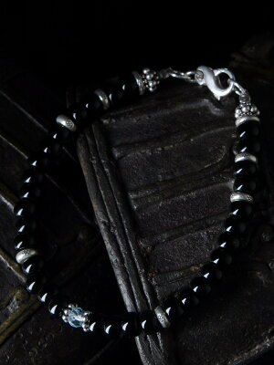 カレン族 カレンシルバー ビーズ ブルートパーズ ブレスレット アンクレット / メンズ レディース ブラックオニキス パワーストーン 青 黒