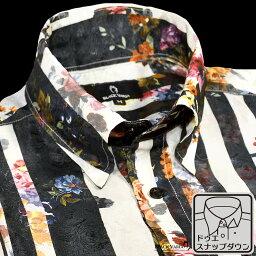 ドゥエボットーニ サテンシャツ ドゥエボットーニ 花柄 ストライプ メンズ スナップダウン 日本製 ジャガード パーティー ドレスシャツ mens(ホワイト白ブラック黒) 181114
