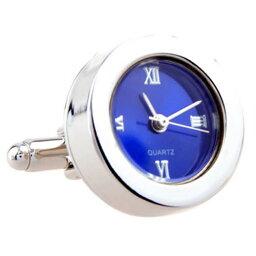 カフス 時計 カフス カフスボタン シルバー&ブルー ラウンド 時計 時計付 カフリンクスメンズアクセサリーの通販ギフト プレゼント お祝い 結婚式 ビジネス 新生活 父の日 彼氏 夫