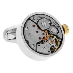カフス 時計 カフス カフスボタン スティームパンク シルバー 時計ムーブメント カフリンクスメンズアクセサリーの通販ギフト プレゼント お祝い 結婚式 ビジネス 新生活 父の日 彼氏 夫