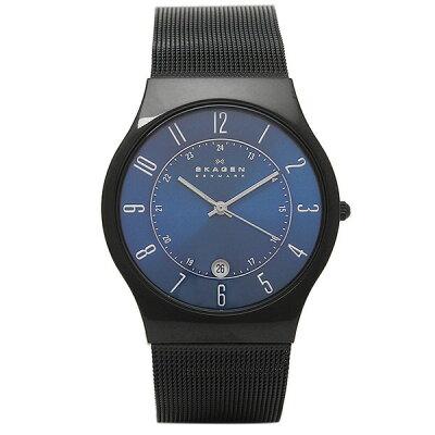 スカーゲン 腕時計 SKAGEN T233XLTMN TITANIUM チタン メンズ腕時計 ウォッチ ブラック/ネイビー