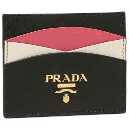 プラダ 名刺入れ 【146時間限定ポイント10倍】【返品OK】プラダ カードケース サフィアーノ マルチカラー ブラック ピンク レディース PRADA 1MC025 ZLP F061H