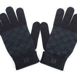 ルイヴィトン 手袋(レディース) LOUIS VUITTON 手袋 グローブ M70008 ブルーグレー  ウールニット ゴン プティ ダミエルイ ヴィトン メンズ【新品・未使用・正規品】