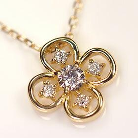 ダイヤモンド ネックレス イエローゴールド K18・ダイヤモンド0.15ct(SIクラス・鑑別書カード付) クローバーペンダント