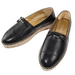 プラダ プラダ PRADA エスパドリーユ 靴 リボン レディースシューズ ナッパ レザー ブラック イタリアサイズ37.5(日本サイズ24.5cm) 1S740F 038 F0002 NAPPA 送料無料