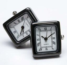 カフス 時計 ★カフスボタン ONYX-ART LONDON  CLM_06 RECTANGULAR BLACK WATCH Cufflinks 角型ブラックの時計 これマジで動きます一年間保証付き・・♬〜