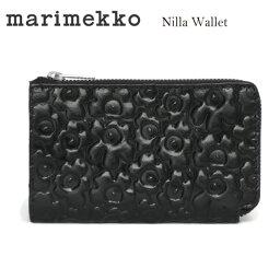 マリメッコ marimekkoマリメッコ NILLA 046482 ウニッコ型押しレザージップウォレット 財布 BLACK ブラック