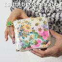 ツモリチサト 二つ折り財布 レディース プレゼント付き!ツモリチサト 2つ折り財布 ラウンドファスナー ドットフラワーネコ tsumori chisato CARRY 花柄とドットプリントが可愛いネコプレート付き