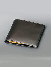 エッティンガー 二つ折り財布(メンズ) エッティンガー  ETTINGER/ブラック 黒/使うたび強靭になるブライドルレザー製 カードケース併用コンパクトウォレット 薄手2つ折り財布 メンズ