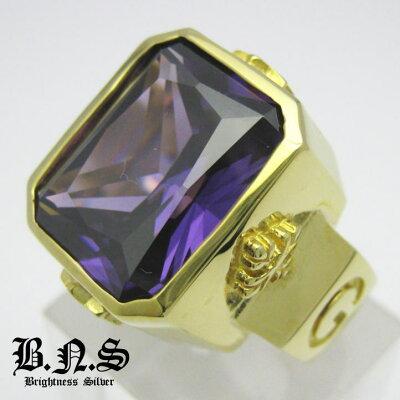 ゴールドロイヤルサファイアスクエアストーンGODゴッドリング パープル 紫 真鍮 ブラス
