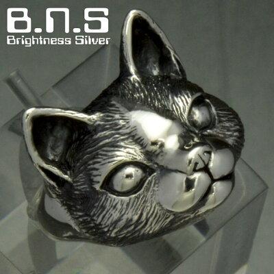 銀の猫の顔の指輪 キャットフェイスリング シルバー925 銀 silver925 (ネコリング ねこ ネコ cat 仔猫)
