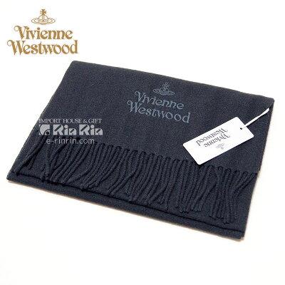 ヴィヴィアン・ウエストウッド Vivienne Westwood 男女兼用 ウール100% ブラック 81030007-10081-FP-N401 BLACK 30×180 オーブロゴ入り ヴィヴィアンマフラー【新品・正規品・送料無料】新生活 ギフト 【】