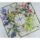 日本製 レディース ハンカチ 時計&花柄 オフホワイト系 日本製(48×50cm)
