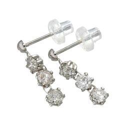 ダイヤモンド レビュー投稿で次回使える2000円クーポン全員にプレゼント 直送 ホワイトゴールド 0.6ctダイヤモンド3ストーンピアス ファッション リング・指輪 天然石 ダイヤモンド