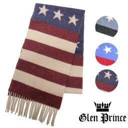 グレン・プリンス GLEN PRINCE グレンプリンス マフラー ウール 星条旗 ボーダー 星柄 SLS15 41024