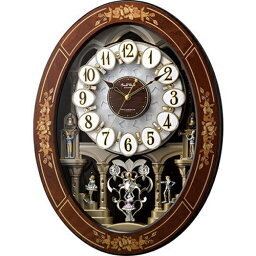 からくり時計 リズム時計 4MN546RH06(茶色象嵌仕上) スモールワールドレガロ 報時付電波掛け時計