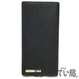 カルティエ 財布(メンズ) Cartier (カルティエ) L3000769 サントス ドゥ カルティエ 二つ折り長財布 メンズ 小銭入れ お札入れ カード入れ ブラック レザー 【USED-AB】