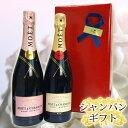 シャンパンのギフト エレガントラッピング モエ・エ・シャンドン ロゼ&ブリュット 2本セット シャンパーニュギフト P25Jan15