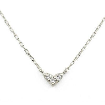 ネックレス レディース ダイヤモンド K10 ホワイトゴールド シンプル 10k 10金 ハート 【 BLOOM ブルーム 】