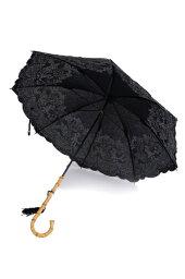 フォックスアンブレラズ フォックス・アンブレラズ レディース WL4-48cm 日傘(パラソル 長傘)UVカット ワンギーハンドル フローラル刺繍入 ブラック
