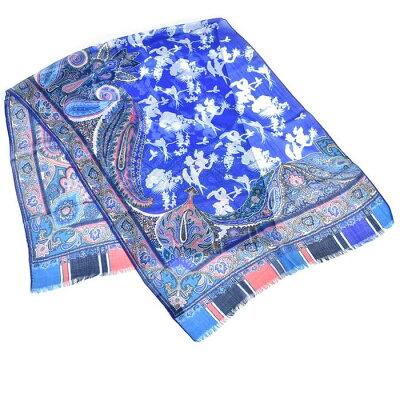 エトロ カシミヤ スカーフ ETRO 10007 5750 0250 DHELY ブルー 【MORE SALE】 ラスト1点