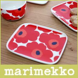 マリメッコ マリメッコ ( marimekko ) UNIKKO PLATE ( ウニッコ プレート ) 15cm ×1 2cm / ホワイト・レッド 【RCP】.