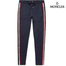 モンクレール MONCLER モンクレール 2018年春夏新作 メンズ Slim-Fit Tapered Grosgrain-Trimmed Jersey Sweatpants ミッドナイトブルー ジャージ パンツ ボトムス