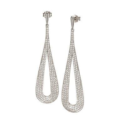 フォリフォリ Folli Follie レディース ジュエリー・アクセサリー イヤリング・ピアス【Fashionably Silver Long Drop Earrings】