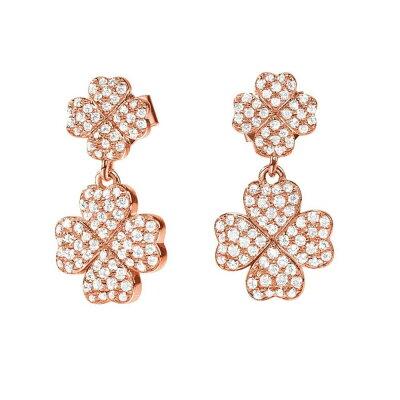 フォリフォリ Foli Follie レディース ジュエリー・アクセサリー イヤリング・ピアス【Heart4Heart Clover Rose Gold Earrings】Rose Gold