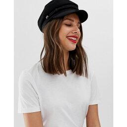 エイソス エイソス ASOS DESIGN レディース 帽子【high crown new wool baker boy hat】Black