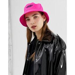 エイソス エイソス ASOS DESIGN レディース 帽子 ハット【fluro bucket hat with motif】Pink