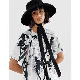 cb164bb89d4a9 エイソス エイソス ASOS DESIGN レディース 帽子【turned edge felt hat with under tie】Black