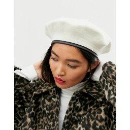 エイソス エイソス ASOS DESIGN レディース 帽子【wool beret with bound edge in white】White