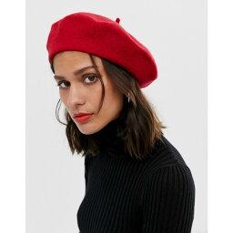 エイソス エイソス ASOS DESIGN レディース 帽子 ベレー帽【wool beret】Red