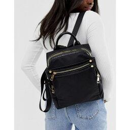 エイソス エイソス ASOS DESIGN レディース バックパック・リュック バッグ【nylon backpack with chunky zip and croc detail】Black