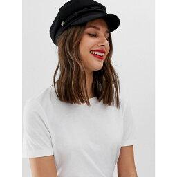 エイソス エイソス ASOS DESIGN レディース 帽子 キャスケット【high crown wool baker boy hat】Black