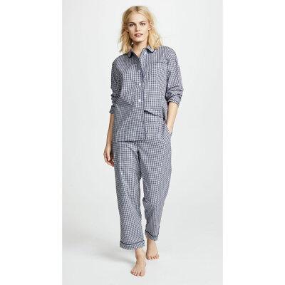 スリーピージョーンズ Sleepy Jones レディース インナー・下着 パジャマ・上下セット【Large Gingham Bishop Pajama Set】Navy