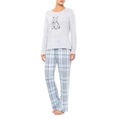 ローラ アシュレイ Laura Ashley レディース インナー・下着 パジャマ・上下セット【Scottie Plaid Pajama Set - Long Sleeve】Peri Plaid