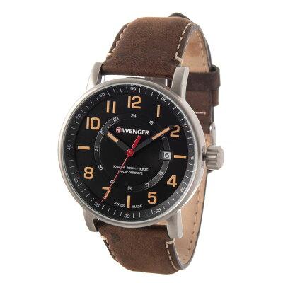 ウェンガー Wenger メンズ 腕時計【Attitude Outdoor Watch - 43mm, Leather Strap】Black/Brwn