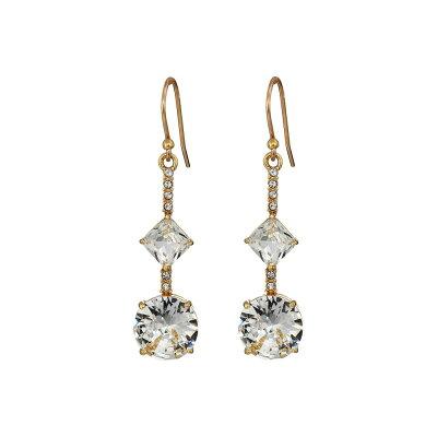 ケイト スペード Kate Spade New York レディース ジュエリー・アクセサリー イヤリング・ピアス【Bright Ideas Linear Asymmetrical Drop Earrings】Clear/Gold