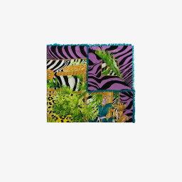 ベルサーチ マフラー(レディース) ヴェルサーチ Versace レディース マフラー・スカーフ・ストール 【multicoloured jungle animalier print scarf】black