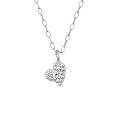 【ネックレス】K10ホワイトゴールド ダイヤモンド ネックレス  4月誕生石 ハートレディース 送料無料 フェスタリア ビジュソフィア ギフト プレゼント