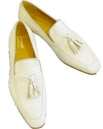 フェランテ 【送料無料】フェランテ FERRANTE モカタッセル 履き口にレース(革紐)付き 革底 メンズ シューズ 靴ほど良いロングノーズ。スーツOK。ジーンズOK。イタリー ナポリもてもてアイテム!アイボリー オフ白 スエード