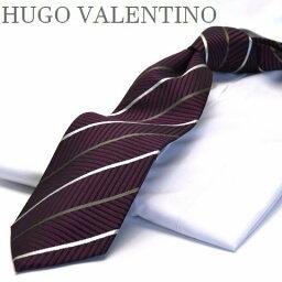 ストライプ HUGO VALENTINO/ネクタイワイン/グレー/グリーン/ストライプtype-b-253