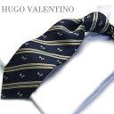 ヒューゴバレンチノ HUGO VALENTINO【ネクタイ】 TYPE-536【シルク】ストライプ/ネイビー犬/ドッグ/dog