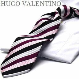 ストライプ HUGO VALENTINO/ネクタイ/ストライプ/ピンク/エンジ/ブラック TYPE-2/ ネクタイ ブランド シルク