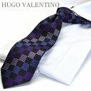 ヒューゴバレンチノ HUGO VALENTINO【ネクタイ】ブラック/ピンク/ワイン/パープル/ TYPE-183ブランド/シルク/Silk/Necktie